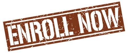 enroll: enroll now square grunge stamp Illustration