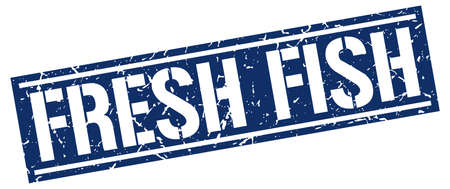 fresh fish: fresh fish square grunge stamp