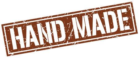hand made: hand made square grunge stamp