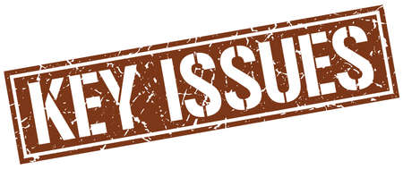 issues: key issues square grunge stamp Illustration