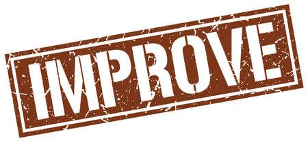improving: improve square grunge stamp