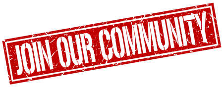 our: join our community square grunge stamp