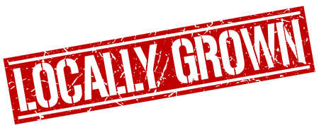 grown: locally grown square grunge stamp