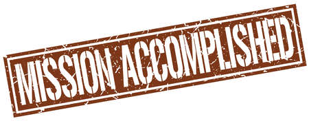 accomplish: mission accomplished square grunge stamp Illustration