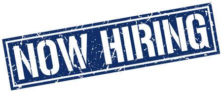 now hiring: now hiring square grunge stamp