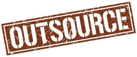 outsource: outsource square grunge stamp