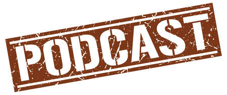 podcast: podcast square grunge stamp Illustration