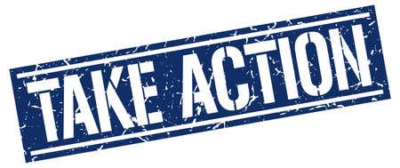 take: take action square grunge stamp