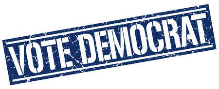 democrat: vote democrat square grunge stamp