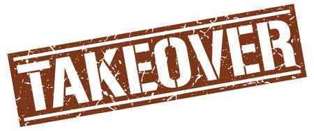 takeover: takeover square grunge stamp Illustration