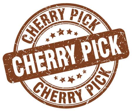 cherry pick brown grunge stamp Illustration