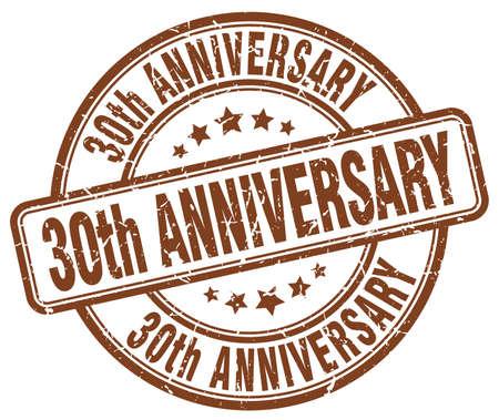 30th: 30th anniversary brown grunge stamp