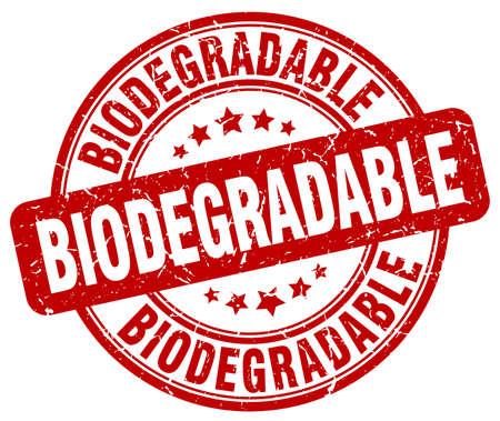 biodegradable: biodegradable red grunge stamp
