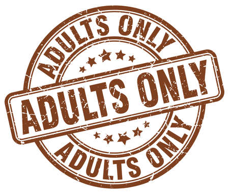 adults only: adults only brown grunge stamp Illustration