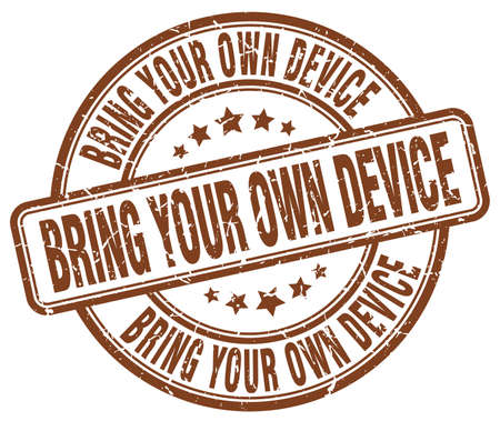 bring: bring your own device brown grunge stamp