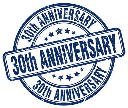 30th: 30th anniversary blue grunge stamp
