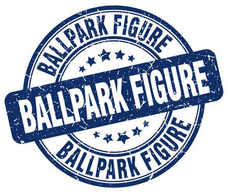 ballpark: ballpark figure blue grunge stamp
