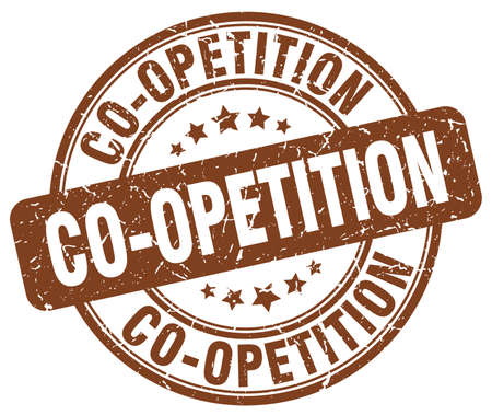 co operation: co-opetition brown grunge stamp