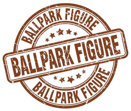 ballpark: ballpark figure brown grunge stamp Illustration