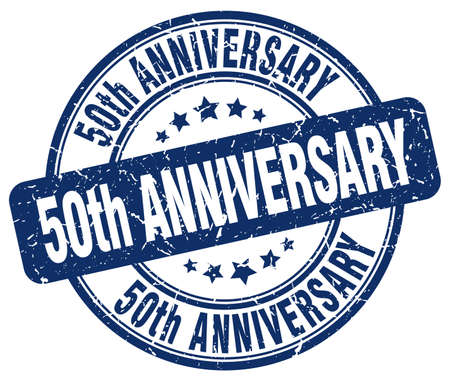 50th: 50th anniversary blue grunge stamp Illustration