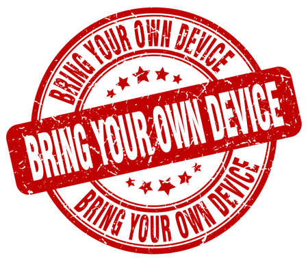 bring: bring your own device red grunge stamp