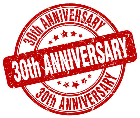 30th: 30th anniversary red grunge stamp