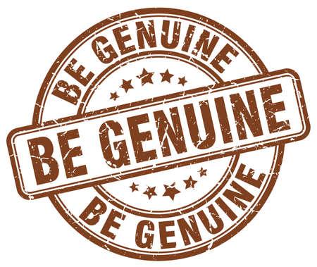 be: be genuine brown grunge stamp