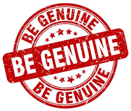 be: be genuine red grunge stamp Illustration