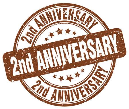 2nd: 2nd anniversary brown grunge stamp Illustration