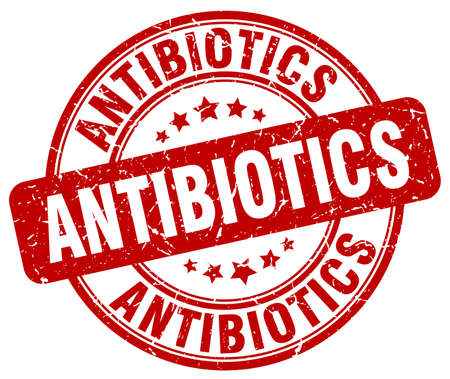 antibiotics: antibiotics red grunge stamp