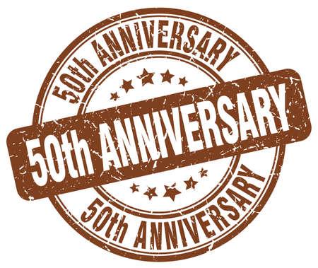 50th anniversary brown grunge stamp