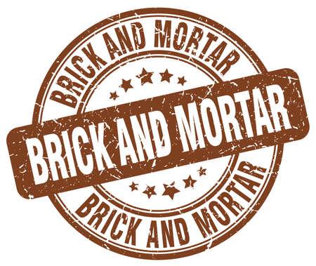 brick and mortar: brick and mortar brown grunge stamp