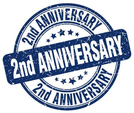 2nd: 2nd anniversary blue grunge stamp