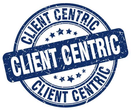 centric: client centric blue grunge stamp Illustration