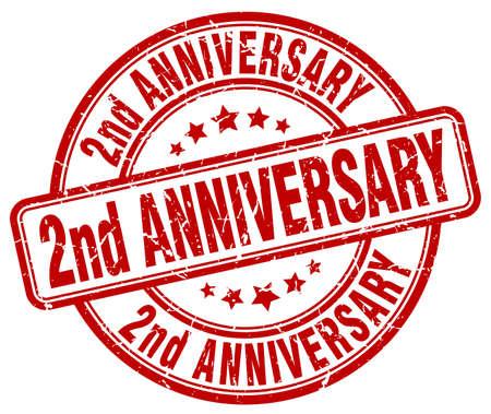 2nd: 2nd anniversary red grunge stamp
