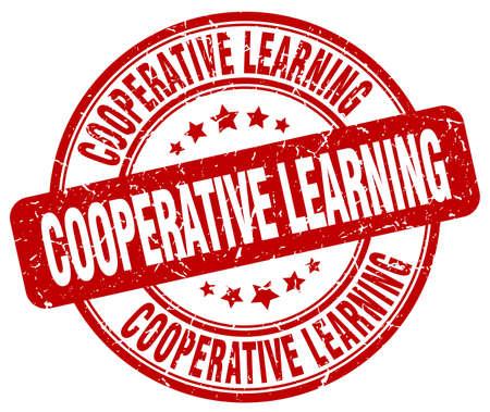 cooperativismo: aprendizaje cooperativo grunge sello rojo