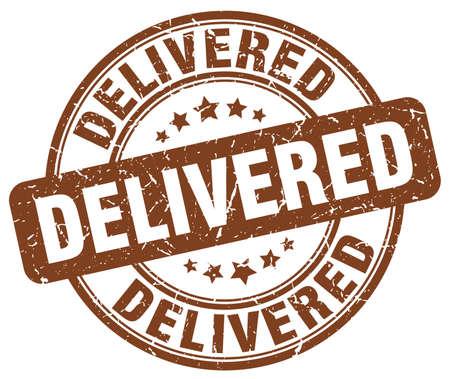 delivered: delivered brown grunge stamp