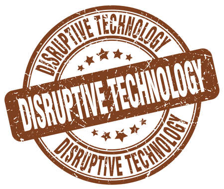 disruptive: disruptive technology brown grunge stamp