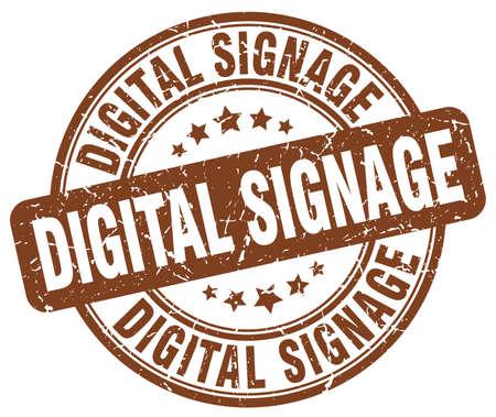 signage: digital signage brown grunge stamp Illustration