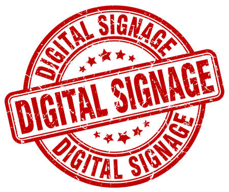 signage: digital signage red grunge stamp