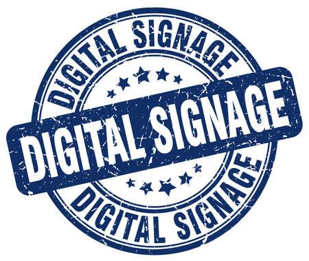 signage: digital signage blue grunge stamp Illustration