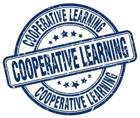 cooperativismo: aprendizaje cooperativo sello azul del grunge Vectores