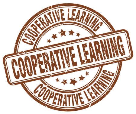 cooperativismo: aprendizaje cooperativo sello del grunge marrón