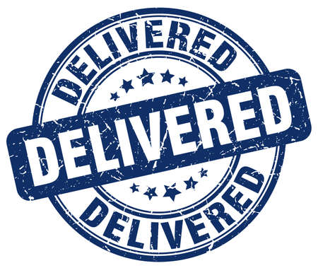 delivered: delivered blue grunge stamp Illustration