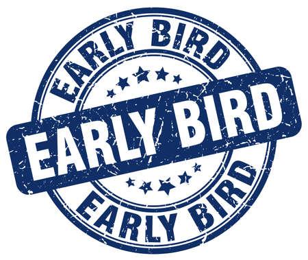 early bird blue grunge stamp Illustration