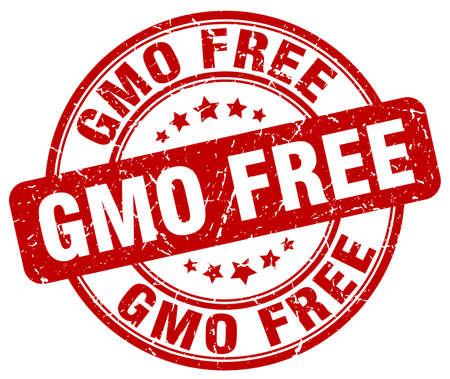 genetically: gmo free red grunge stamp