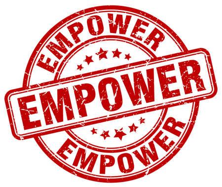 empower: empower red grunge stamp