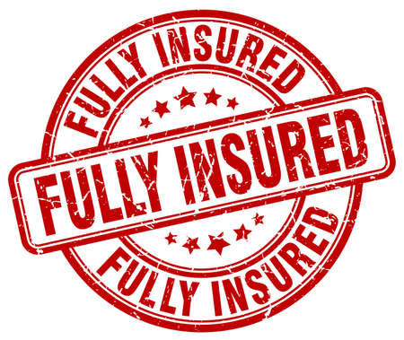 fully: fully insured red grunge stamp