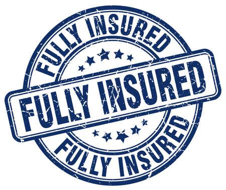 fully: fully insured blue grunge stamp Illustration