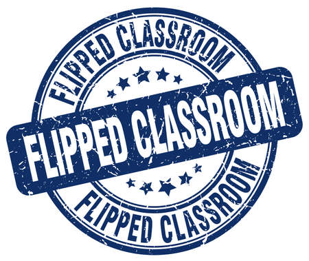 flipped: flipped classroom blue grunge stamp